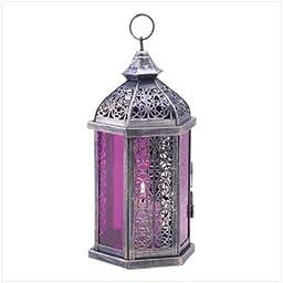 Gifts & Decor Antique Pewter Finish Enchanted Amethyst Candle Lantern