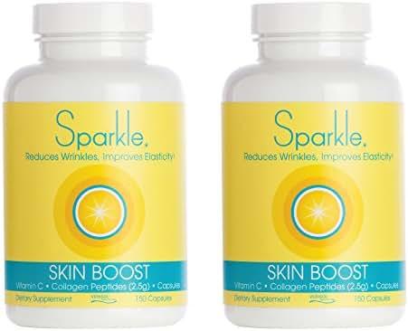 Sparkle Skin Boost Collagen Capsules 2-Pack (150 Pills Each Bottle) 30 Days Featuring 2500mg Verisol Bioactive Collagen Peptides