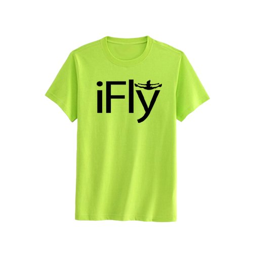 (Chosen Bows Neon Yellow iFly T-Shirt, Black Print, Adult Small )