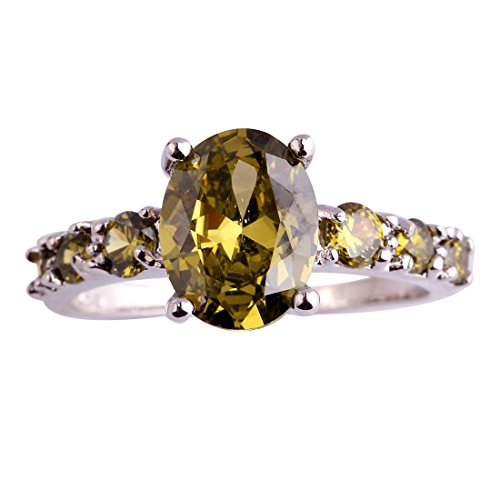 Psiroy 2 Carat Oval Created Peridot Promise Ring for Women