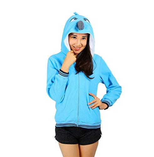 Caline Panda Gaine Longues lgant A Automne Coat Bleu Capuche Mode Femme Capuchon Capuche Costume Outerwear Printemps Manteau Sweat Imprim Sweat Manches FCzq6xnwd