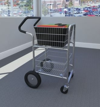 Charnstrom Compact Mail Cart with Bolt in Baskets with 10-Inch Rear Wheels (M240E) by Charnstrom