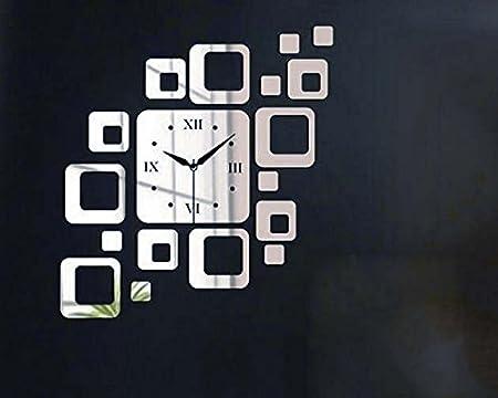 HMEI Relojes de Pared Grandes únicos Frameless Digitaces del diseño Moderno DIY 3D para la Sala de Estar Silent Sweeping para la Oficina: Amazon.es: Hogar