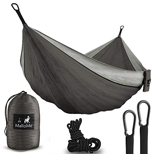 Double & Single Portable Camping Hammock – Parachute Lightweight Nylon with Ropes or Hammok Tree Straps Set- 2 Person Equipment Kids Accessories Max 1000 lbs Breaking Capacity – Free 2 Carabiners