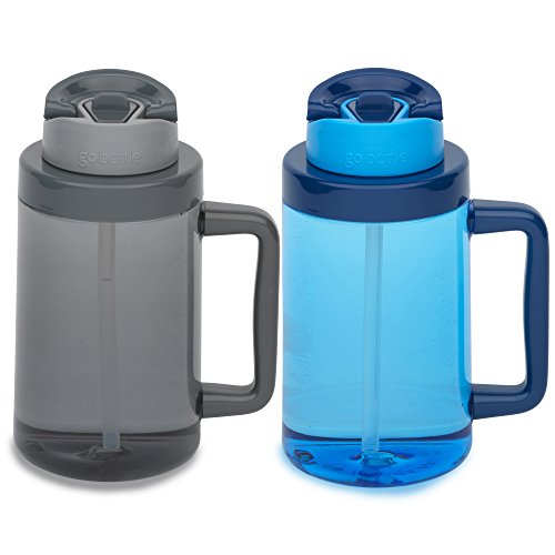 Gallon Quencher, Sip or Drink 2-in-1 Lid System, Leak Proof, Wide Mouth, BPA Free Water Bottle, 64oz, 2-Pack ()