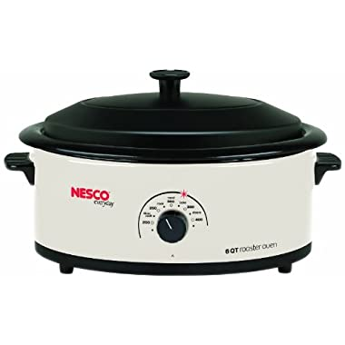 Nesco 4816-14 6-Quart Roaster Oven with Porcelain Cookwell, White