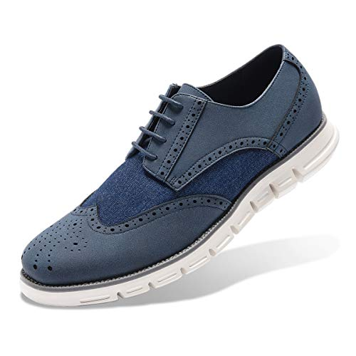 Men's Oxford Sneaker Dress Shoes-Stylish Wingtip Brogue Oxfords Casual Shoes Work Gifts Blue -