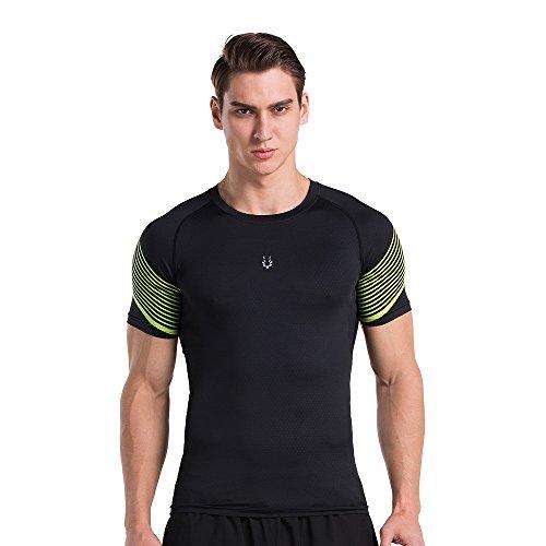 侵入する乏しい期待するメンズ圧縮Running Fitness半袖TシャツBase LayerワークアウトTeeクイックドライ通気性Sportwear
