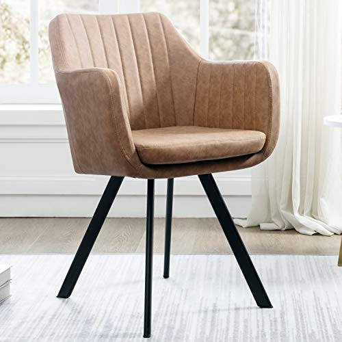 Art Leon Arm Chair Mid-Century Upholstered Faux Leather Accent Chair with Metal Legs (Khaki)