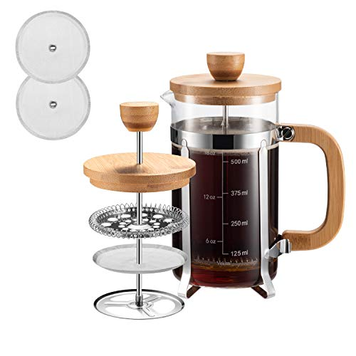 Covos French Press Coffee Maker,(8 Cups/ 34 oz) Durable 304 Grade Stainless Steel Heat Resistant Borosilicate Glass Tea…