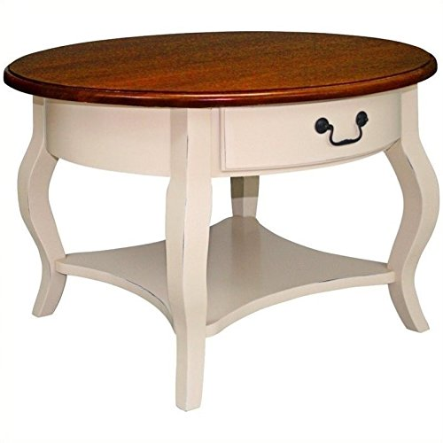 Bowery Hill French Countryside Round Storage Coffee Table in Brown