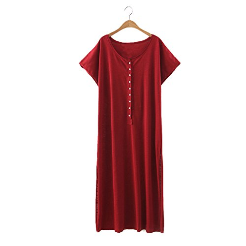 Bang-pa Fashion women beach style short sleeve maxi dress loose side split O neck solid ladies long dress plus size LT890 burgundy - In Outlets Pa Clothing