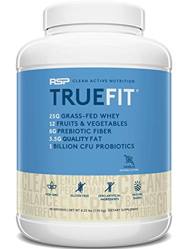 RSP TrueFit (4LB) - Grass Fed Lean Meal Replacement Protein Shake, All Natural Whey Protein Powder with Fiber & Probiotics, Non-GMO, Gluten-Free & No Artificial Sweeteners,Vanilla (Packaging May Vary)