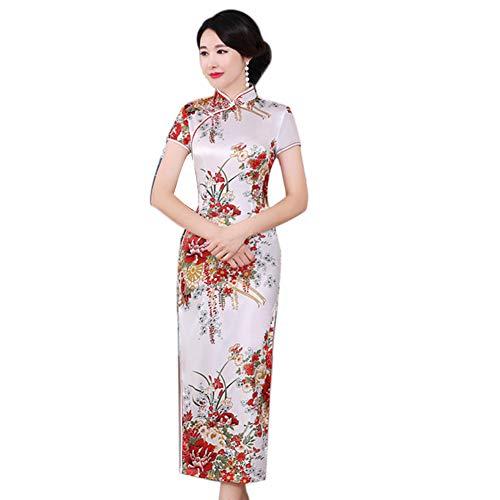 soAR9opeoF Chinese Style Cheongsam Dress, Flower Print Stand Collar Short Sleeve Women Slit Cheongsam Dress(S-6XL) White XXXXXXL ()
