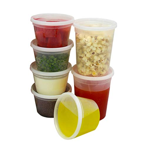 Food Storage Containers with Lids, Round Plastic Deli Cups, US Made, 16 and 32 oz, Cup Pint Quart Size, Leak Proof, Airtight, Microwave & Dishwasher Safe, Stackable, Reusable, White [40 Pack] (Microwaveable Containers Bpa Free)