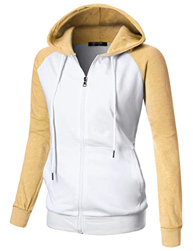 GIVON Womens Comfortable Long Sleeve Lightweight Raglan Zip-up Hoodie with Kanga Pocket