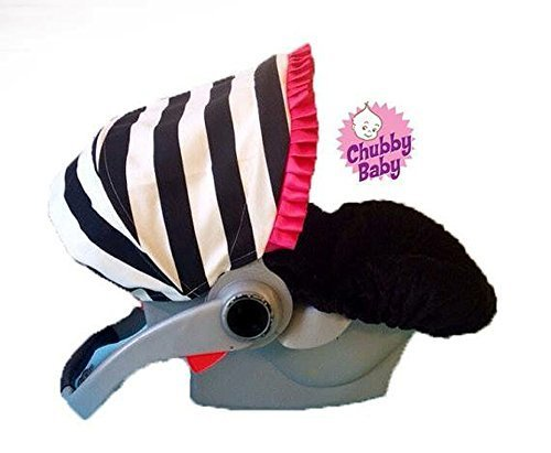 Baby Car seat Cover, Canopy in black & white Stripes w/ hot pink ruffle. Seat in black minky. FREE strap covers included