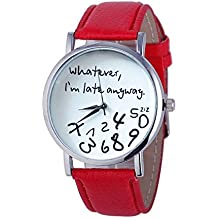 Womens Quartz Watches with Worlds,COOKI Unique Analog Fashion Clearance Lady Watches Female watches on Sale Casual Wrist Watches for Women,Round Dial Case Comfortable PU Leather Watch-H31 (Red)