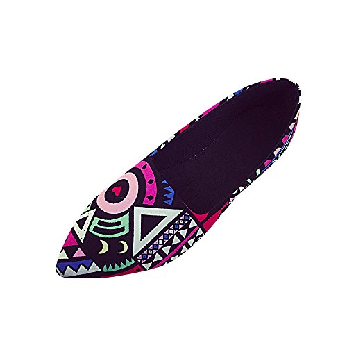 POHOK Women Casual Multicolor All Seasons Ballet Slip Printed Flat Pointed Women's Shoes(39, Multicolor)