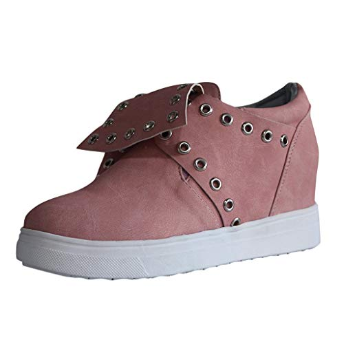 TnaIolral Women Shoes Fashion Retro Tie Metal Hole Ankle Round Toe Casual Boots (US:9, Pink)