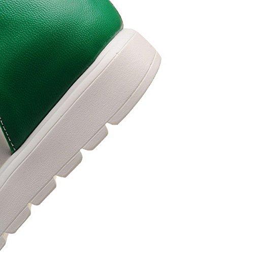 Amoonyfashion Donna Tacco Basso Materiale Solido Sandali Aperti Punta Aperta Sandali Verdi