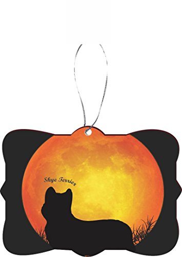 Rikki Knight RKWS-SQORN-41348 Christmas Tree Ornament / Car Rear View Mirror Hanger Skye Terrier Dog Silhouette by Moon Design