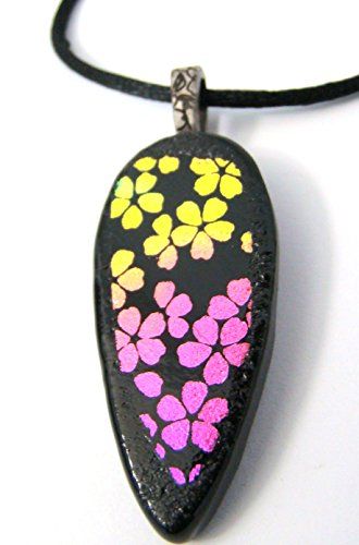 Pink and Yellow Dichroic Glass Flowers Pendant Teardrop Necklace