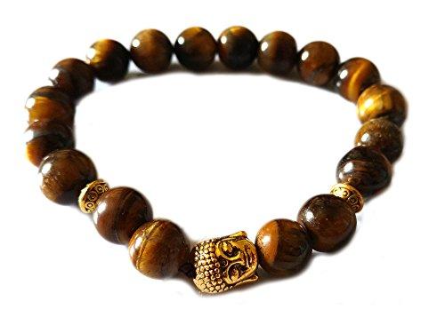 Blacksmith Gold Buddha Bracelet for Women & Men - Brown Tiger Eye -