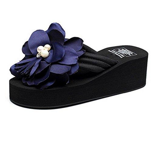 2 suelas verano zapatillas playa de oras zapatillas del de Flores de sandalias frescas se los para pengweiSandalias espesamiento de las pies clip 1qwf58