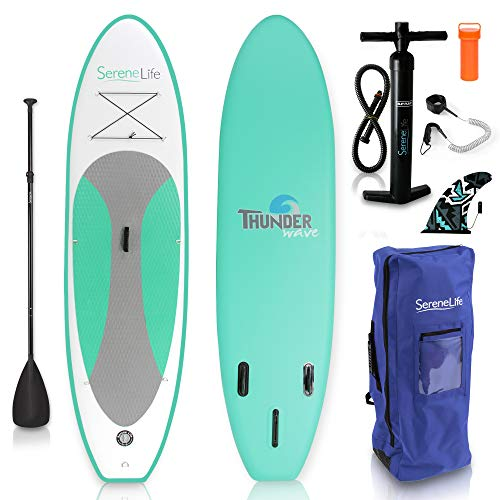 SereneLife Inflatable Stand Up Paddle Board (6 Inches Thick) with...
