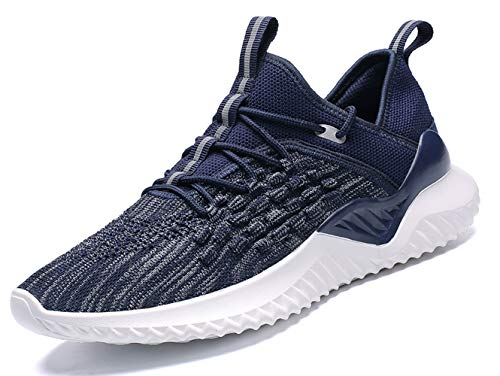 (walking sneakers for men breathable comfort white green red black fashion casual sport trail running shoes youth big boys gym workout tennis shoes plus size sport jogging sneakers Blue Size 9.5 (1907-Blue-43))