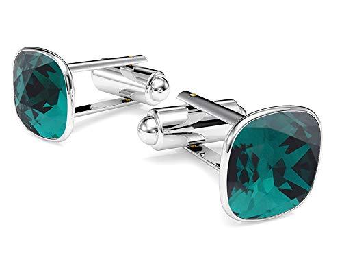 Beforya Paris - Cufflinks - Emerald - 925 Sterling Silver - with SQUARE Swarovski - 925 Sterling Silver Beautiful Men's Cufflinks with Gift Box