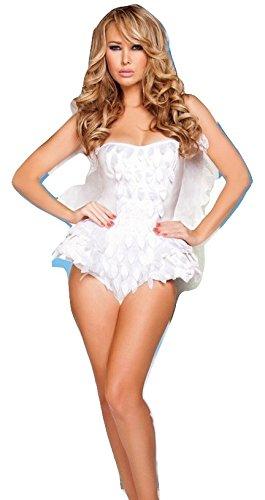Nuevas señoras blanco ángel aspecto mojado sin tirantes vestido ...