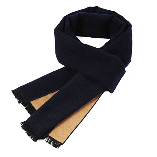 CUDDLE DREAMS Two Tone Reversible Winter Scarves for Women and Men, 100% Brushed Silk, Luxuriously Soft (Navy/ Camel) Brushed Wool Scarf