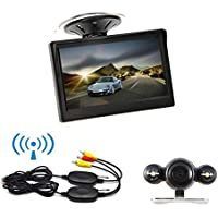 Ehotchpotch Vehicle Backup Camera & Monitor, 5 TFT LCD Color Rearview Mirror, 2.4G Wireless Car Rear View Camera Parking Reverse System, IR LED Night Vision, Distance Scale Lines