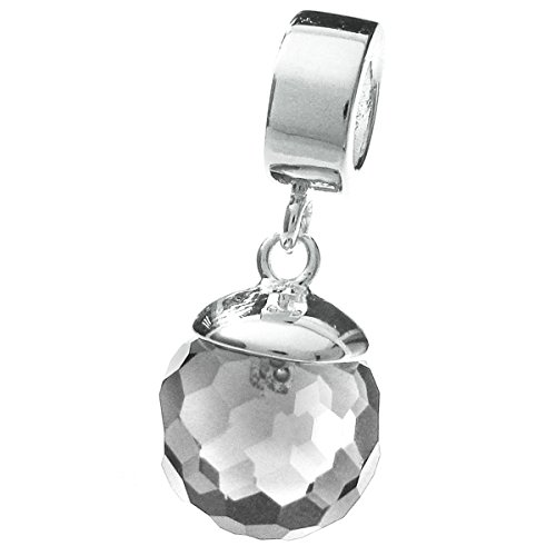 925 Sterling Silver Clear Cz Crystal Disco Ball Dangle Bead for European Charm Bracelets ()