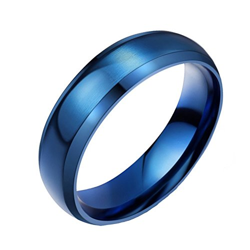 YUUHII ATR Men's 6MM Blue Stainless Steel Beveled Edge Flat Band Couple Domed Wedding Rings, sizes 4 - 14