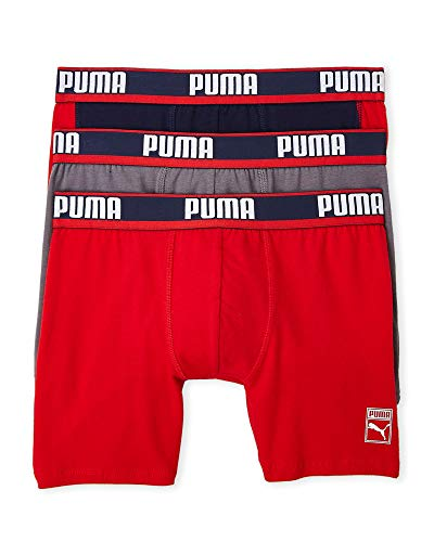 PUMA Men's 3-Pack Heritage Collection Side Stripe Boxer Brief (Navy/Red/White, X-Large)