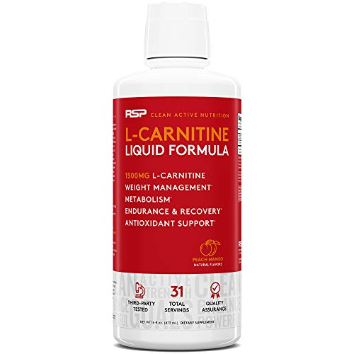 RSP Liquid L-Carnitine 1500 - Natural Weight Management and Metabolism Booster, Stimulant Free L Carnitine, Max Strength for Rapid Absorption, Peach Mango 16 oz. (Packaging May Vary)