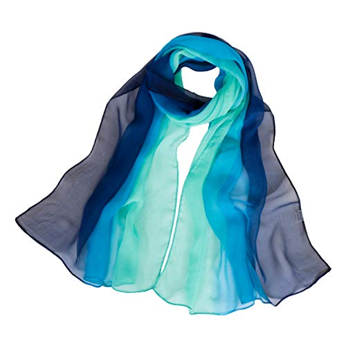 LMVERNA Long Chiffon Sheer Silk Scarves Shade Colors Scarf for Women Lightweight Long Wrap Shawls(Navy Blue and Green) ()