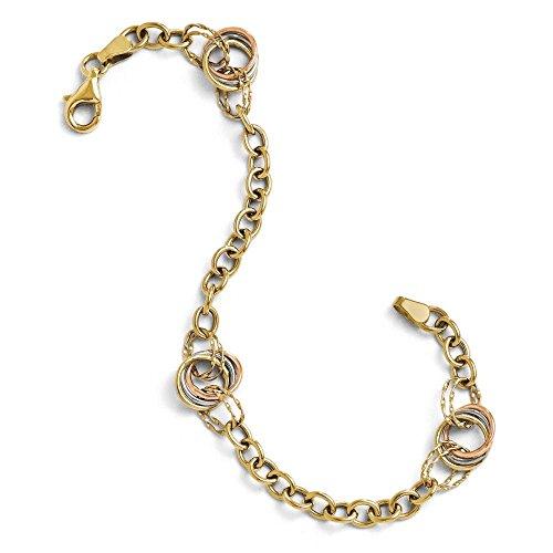 10 k Tri-color poli et texturé Bracelet JewelryWeb-Fancy - 18,4 cm