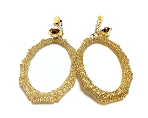 Clip-on Earrings Mesh Bamboo Oval Hoop Earrings Gold or Silver tone 2.5 inch (Gold)