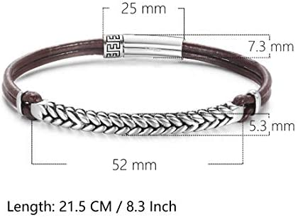"Mens Bracelet Genuine Leather Bracelet Jewellery for Men Braided Rope with 925 Sterling Silver FootPrint Collection Push Button Locking Clasp, 8.3""/21.5 CM"