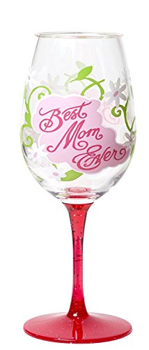 C.R. Gibson Lolita Ultimate Acrylic Glitter Wine Glass, Family collection, with Westwood Gourmet Bottle Opener (Best Mom Ever) (Westwood Bottle Opener)
