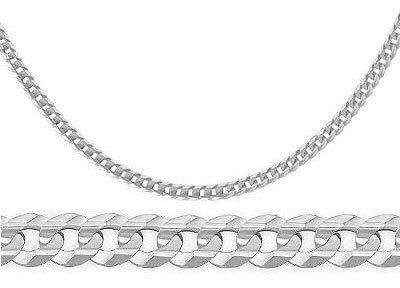 Silver Concave Curb Cuban Bracelet - 14k Solid White Gold Cuban Bracelet Curb Link 2.4 mm 7 inch