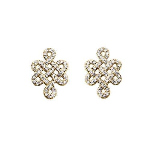 (Love Knot Diamond Earrings Tibetan symbol of Endless Love, Gold & Diamonds Stud Earrings, Love Earrings, Diamond Necklace, Anniversary Gifts)