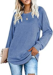 onlypuff Tunic Tops for Women Basic Tees Loose Casual Ladies T-Shirts Plain Shirts Tops