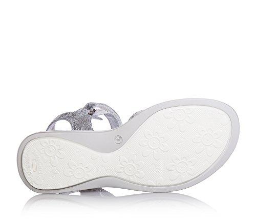 NERO GIARDINI - Sandale gris argenté en cuir, avec velcro, strass, fille,filles,enfant