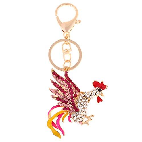 (Flameer Animal keychain Enamel Rooster Rhinestone Keyring Cock Crystal Handbag Charm - Pink)