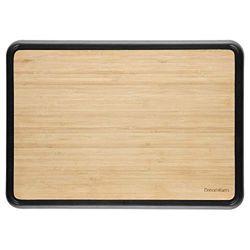 Dreamfarm Fledge Flip Over Silicone Edge Double-Sided Bamboo Cutting Board and Serving Tray, 7 x 10
